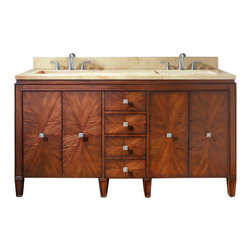 Avanity - Brentwood 61 in. Double Vanity Combo - This gorgeous vanity offers plenty of space to stash your stuff, plus his and her sinks so you can both get ready at the same time. An artful pairing of modern and traditional design, it has a unique starburst pattern on the doors and drawer fronts that's achieved through a careful matching of wood veneers.
