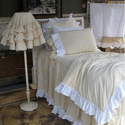 Petit Somme - Romantic Bedding Collection - Romantic duvet cover in natural with white ruffle.  Duvet cover is in 100% muslin cotton with button enclosure.