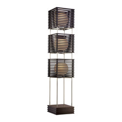 """Possini Euro Design - Possini Euro Three Tier Wood Slat Frosted Glass Floor Lamp - This floor lamp design features slatted wood boxes which surround three fixtures. The wood comes in a rich espresso finish and globes of frosted glass glow within. A metal framework with a brushed nickel finish supports the various tiers. From the Possini Euro Design Lighting Collection. Espresso wood finish. Brushed nickel metal finish. Frosted glass. Wood and metal construction. On/off foot switch. Takes three 60 watt bulbs (not included). 64"""" high. Slat shades are 12"""" high and wide.  Espresso wood finish.   Brushed nickel metal finish.   Frosted glass.   Wood and metal construction.   On/off foot switch.   Design by Possini Euro Design floor lamps.  Takes three 60 watt bulbs (not included).   64"""" high.   Slat shades are 12"""" high and wide."""