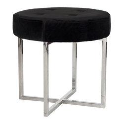 Worlds Away Melanie Black Velvet Round Nickel Stool - Black velvet round stool with nickel base