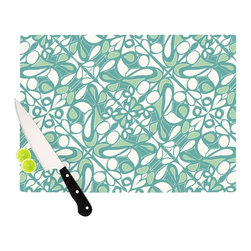 """Kess InHouse - Miranda Mol """"Swirling Tiles Teal"""" Cutting Board (11.5"""" x 15.75"""") - These sturdy tempered glass cutting boards will make everything you chop look like a Dutch painting. Perfect the art of cooking with your KESS InHouse unique art cutting board. Go for patterns or painted, either way this non-skid, dishwasher safe cutting board is perfect for preparing any artistic dinner or serving. Cut, chop, serve or frame, all of these unique cutting boards are gorgeous."""