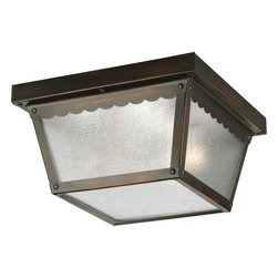 Progress Lighting - Progress Lighting P5729-20 Two-Light Close-To-Ceiling With Textured Glass - Metal ceiling light with textured glass.