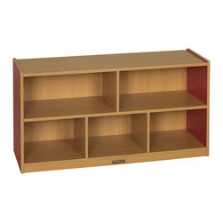 """Ecr4kids - Ecr4Kids Classroom 24""""H Colorful Essentials Storage Cabinet Red - 5 Comp - The Colorful Essentials Mobile Storage Cabinets are the perfect height for children. Sturdy construction and easy-to-clean laminate compliments any classroom. warm Maple laminate with colored sides. Storage bins not included."""