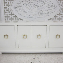Custom White Lacquered Console - We custom built this white lacquered console for a client. We can build one for you too! To your exact specifications.