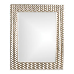 Howard Elliott - Cabrera Weave Mirror - Our Cabrera mirror is a contemporary piece featuring a rectangular frame with a raised basket weave effect. It is finished in a brilliant silver leaf.
