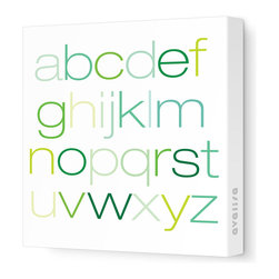 """Avalisa - Imagination - Alpha Stretched Wall Art, 12"""" x 12"""", Green - Here's a colorful way to learn the ABCs. This stretched canvas wall art is just right for early learning and nursery decorating."""