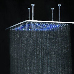 "24"" Rainfall Stainless Steel Square Led Shower Head - Features:"