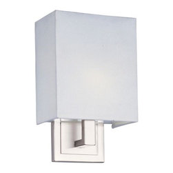 ET2 Lighting - Edinburgh Rectangular Wall Sconce by ET2 Lighting - An angular sconce with warmth and charm, the ET2 Edinburgh Rectangular Wall Sconce highlights the art of geometry with sharp angles finished in Satin Nickel. A simply-shaped linen shade adds a smart, minimalist look while an energy-saving fluorescent light glows warmly from within. ADA compliant.ET2, headquartered in California, offers a range of contemporary lighting fixtures and chandeliers that utilize crisp and clean glass styles and bright metal finishes to enhance modern and contemporary interiors. ET2 is a division of the Maxim Lighting Group.The ET2 Edinburgh Rectangular Wall Sconce is available with the following:Details:White linen shadeMetal supportsSatin Nickel finishRectangular wall plateEnergy efficientUL ListedADA CompliantLighting:One 26 Watt 120 Volt Type GU24 Fluorescent lamp (included).Shipping:This item usually ships within 3-5 business days.