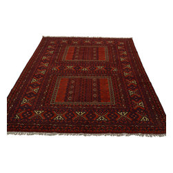 5'x8' Oriental Rug 100 Percent Wool Red Turkoman Hand Knotted Mint Cond Sh18765 - Our Tribal & Geometric hand knotted rug collection, consists of classic rugs woven with geometric patterns based on traditional tribal motifs. You will find Kazak rugs and flat-woven Kilims with centuries-old classic Turkish, Persian, Caucasian and Armenian patterns. The collection also includes the antique, finely-woven Serapi Heriz, the Mamluk Afghan, and the traditional village Persian rug.