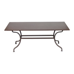 2134 Romane Table 71x39 by Fermob - This perfect table has vintage modern style, can fit into a range of room styles, and even stands up to the elements outdoors. Seats 8-12.