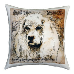 Pillow Decor - Leonardo's Dogs American Cocker Spaniel Dog Pillow - Created in the style of a Leonardo da Vinci sketch, this American Cocker Spaniel image is applied to a wonderfully soft and natural feeling indoor/outdoor poly-linen fabric. The American Cocker Spaniel Dog Pillow makes a great gift for anyone who owns and loves this breed. Or incorporate this pillow into your own home to celebrate the unconditional affection that your dog shares with you. A Leonardo's Dogs original.