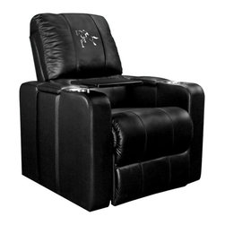 Dreamseat Inc. - Horse - Equestrian Home Theater Plus Leather Recliner - Check out this Awesome Leather Recliner. Quite simply, it's one of the coolest things we've ever seen. This is unbelievably comfortable - once you're in it, you won't want to get up. Features a zip-in-zip-out logo panel embroidered with 70,000 stitches. Converts from a solid color to custom-logo furniture in seconds - perfect for a shared or multi-purpose room. Root for several teams? Simply swap the panels out when the seasons change. This is a true statement piece that is perfect for your Man Cave, Game Room, basement or garage. It combines contemporary design with the ultimate comfort from a fully reclining frame with lumbar and full leg support.