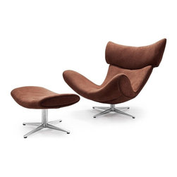 Modern Brown Fabric Swivel Lounge Chair With Ottoman Ostin - Modern lounge chair Ostin was designed to provide you a perfect relaxing experience along with the remarkable contemporary style. Upholstered in soft brown fabric the lounge chair is equipped with the swivel metal base and a complimentary matching ottoman.