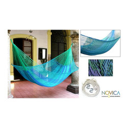 Novica - Hand-woven Large Deluxe Cool Lagoon Hammock (Mexico) - Cool as a quiet lagoon, this double hammock is inspired by the Mexican CaribbeanWorldstock patio furniture is ample and gently cradles the bodyHand-woven by Maya Artist of the Yucatan