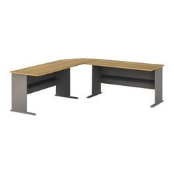 BBF - Bush Series A 3-Piece L-Shape Computer Desk in Light Oak - Bush - Office Sets - WC64360PKG1 - Bush Series A Corner Connector in Light Oak (included quantity: 1) Turn two desks into one grand statement with the Bush Series A Corner Connector. This rounded corner attachment is a sturdy yet inviting addition to any office suite, and will blend beautifully with any Series A Collection piece.  Features: