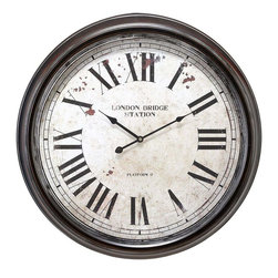 Benzara - Metal Wall Clock with Big Size Roman Numbers - Metal Wall Clock is an eye catching wall decor item. The antique white dial of the clock is calibrated beautifully with big size Roman numbers.