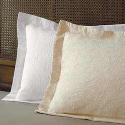 Frontgate - Resort Matelasse Sham - Constructed of 100% premium Egyptian cotton. Double-mercerized cotton delivers a deeper saturated color, high sheen, and silky hand. Coverlet features rich matelassé on one side. Sham is double-sided. Combine with the Resort Bedding Collection.. Designed by Frontgate, our 100% cotton Resort Matelasse Bedding is richly textured yet maintains an exceptionally soft hand. Elegant style and superb quality combine to create a relaxing bedroom environment.  . . Coverlet features rich matelasse on one side .  . . Machine wash . Imported.