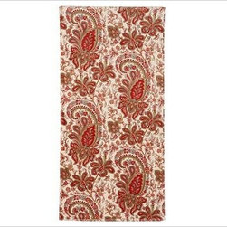 Charlie Paisley Organic Bath Towel, Red - Vibrant paisleys inspired by an antique French wallpaper print swirl across our luxuriously soft organic cotton towels. 600-gram weight. Woven of pure organic cotton. Oeko-Tex certified. Machine wash. Monogramming is available at an additional charge. Monogram will be centered at one end of the bath and the hand towels. Made in Portugal.