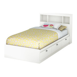 South Shore - South Shore Affinato Twin Bookcase Storage Bed Set in Pure White Finish - South Shore - Beds - 3260080098PKG