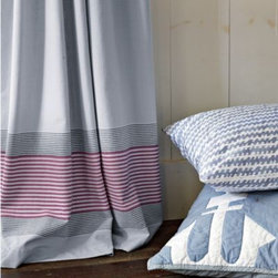 Serena & Lily - Yacht Stripe Window Panel  Chambray - We love the nautical look. So clean, casual and easy to work with. Stripes along bottom hem bring just the right touch of color to the room. Woven of yarn-dyed cotton that's been pre-washed for extra softness. In Chambray with contrasting stripes of Red and Navy.