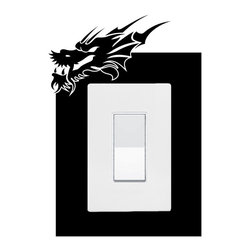 StickONmania - Lightswitch Dragon Sticker - A vinyl sticker decal to decorate a lightswitch  Decorate your home with original vinyl decals made to order in our shop located in the USA. We only use the best equipment and materials to guarantee the everlasting quality of each vinyl sticker. Our original wall art design stickers are easy to apply on most flat surfaces, including slightly textured walls, windows, mirrors, or any smooth surface. Some wall decals may come in multiple pieces due to the size of the design, different sizes of most of our vinyl stickers are available, please message us for a quote. Interior wall decor stickers come with a MATTE finish that is easier to remove from painted surfaces but Exterior stickers for cars,  bathrooms and refrigerators come with a stickier GLOSSY finish that can also be used for exterior purposes. We DO NOT recommend using glossy finish stickers on walls. All of our Vinyl wall decals are removable but not re-positionable, simply peel and stick, no glue or chemicals needed. Our decals always come with instructions and if you order from Houzz we will always add a small thank you gift.