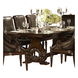 Homelegance - Homelegance Orleans Double Pedestal Dining Table in Rich Dark Cherry - The grandeur of Old World Europe is flawlessly executed in the Orleans collection. Acanthus leaf carvings feature prominently and blend with elegantly appointed moldings on each piece of this stately dining room offering. Wreath accents lend dramatic flair to the Double pedestal table base as does the sculpted lion's foot, supporting the server. The tabletop's richly hued match cherry veneers feature decorative inlay, all surrounded by the elegantly carved rope twist edge. The accompanying server's features include ample storage space, full extension glide drawers, with the center-drawer opening to reveal protective felt serving piece storage. The heavily carved mirror frame provides an extra touch of elegance. The rich dark cherry finish with gold tipping completes the formal feel of the Orleans collection.