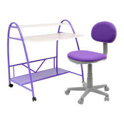 None - Studio Designs Purple 2-Piece Arc Center Children's Desk - Add a burst of color to your daughter's room with this purple kid's desk from Studio Designs. The two-piece desk set includes an arc-shaped desks with two shelves that provide ample storage space and a foam-filled chair on caster wheels.