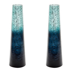 Lazy Susan - Emerald Ombre Snorkle Vase - This Set Of 2 Emerald Ombre Snorkle Vases Are Each Mouth Blown By A Skilled Craftsman Using Traditional Tecniques. Years Of Training Is Required Before A Craftsman Can Blow Larger Pieces. The Ombre Finish Is Hand Applied After The Glass Has Cooled And Then Delicate Silver Leaf Is Added To The Inside To Give Added Depth And Interest To The Finish.