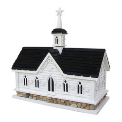 "Home Bazaar inc. - Star Barn Birdhouse - This functional birdhouse is inspired by the iconic Star Barn in the heart of Pennsylvania Dutch, Amish Country near Lancaster, Pennsylvania. Stars decorate all around this Country Classic with a river stone foundation. This house has a removable back wall for easy cleaning, two separate nest boxes separated by a wall. 1 1/4 ��� openings will invite wrens, finches, chickadees and nuthatches. Item Dimensions: 19"" H x 18� W x 8 ��� D"