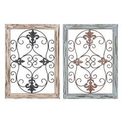 Benzara - Wood Metal Wall Panel with Intricate Design - Set of 2 - Adorn your home or office the unique way with the wood metal wall panel 2 assorted. Sophisticated in style, this wall decor can match with any kind of interiors. Under the subtle lighting, this wall addition will bring life to the monotonous color of the wall. The intricacy in terms of detailing adds to its articulate design, which makes the overall appearance very delightful. The minute detailing of the wall decor is a delight, and will certainly enlighten the beauty of the room. This wall decor is a perfect example of simplicity and articulation of design. Crafted from wood and metal, this piece oozes intriguing designing with longevity that you just cannot ignore..