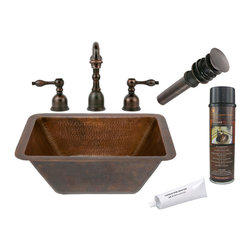 Premier Copper Products - Rectangle Hammered Copper Sink w/ ORB Faucet - PACKAGE INCLUDES: