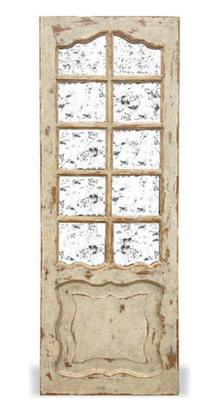 Koenig Collection - Old World Mirror Door Madrid, Weathered Grey Washed Over W/ Brown Stain And Gold - Old World Mirror Door Madrid, Weathered Grey Washed over W/ Brown Stain and Gold Leaf