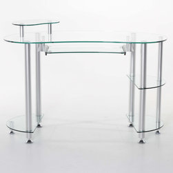 Matrix - Glass 'Miranda' Computer Desk - Transform any room in your home into a modern office. Perfect for small spaces, this sleek and compact kidney-shaped computer desk still offers you plenty of room to work.