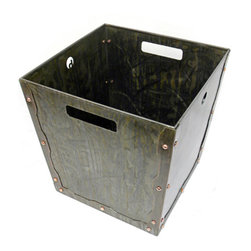 The Riveted Trash Bin - This trash bin is hand colored with our acid patina finishes and held together with copper rivets turning an ordinary fixture into an eye catching accent.  Made with recycled steel.   Available in our Standard and Custom patina finishes and custom sizes.