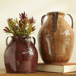 Marlowe Vases, Burgundy and Ocher - These Marlow vases will round out a fall-inspired vignette on a buffet or coffee table.
