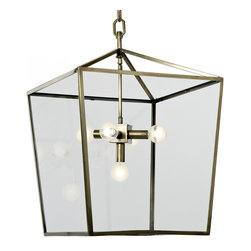 Kathy Kuo Home - Barth Industrial Loft Brass Glass  Pentagon Pendant Lantern - Art meets architecture in this handsome, hanging pendant lantern. Crystal clear glass houses a five-light fixture, detailed in soft brass. An adjustable, linked chain suspends the lantern from your ceiling, shedding light in a library, cozy corner or entryway.