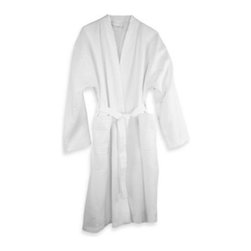 Mount Vernon Mills, Inc. - Riegel Cottonblend Waffle Weave Bath Robe - Lounge in luxurious comfort in the Riegel cotton-blend waffle weave bath robe. This classic wrap-and-tie robe features kimono collar styling made for relaxed wear.