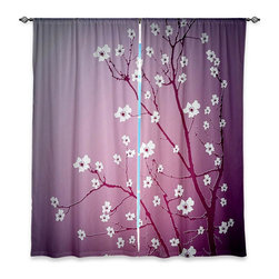 """DiaNoche Designs - Window Curtains Lined by Monika Strigel Blooming Tree Red Wash - DiaNoche Designs works with artists from around the world to print their stunning works to many unique home decor items.  Purchasing window curtains just got easier and better! Create a designer look to any of your living spaces with our decorative and unique """"Lined Window Curtains."""" Perfect for the living room, dining room or bedroom, these artistic curtains are an easy and inexpensive way to add color and style when decorating your home.  This is a woven poly material that filters outside light and creates a privacy barrier.  Each package includes two easy-to-hang, 3 inch diameter pole-pocket curtain panels.  The width listed is the total measurement of the two panels.  Curtain rod sold separately. Easy care, machine wash cold, tumble dry low, iron low if needed.  Printed in the USA."""