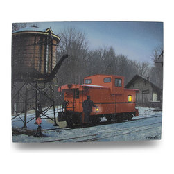 Zeckos - Flickering LED Train Caboose Lighted Canvas Wall Hanging - This amazing canvas depicts a train's caboose in a snowy railroad yard in the late evening light. It features flickering LED lights that really make it shine It measures 16 inches tall, 20 inches across and 3/4 inch deep. It easily hangs on the wall using a single nail or screw. The flickering lights are powered by 2 'AA' batteries (not included), are controlled by an inconspicuous on/off switch on the side of the canvas, and unsightly wires are concealed and contained by the vinyl backing. This piece would add excitement to the walls of any office, library or gathering room, and makes a great gift for train enthusiasts
