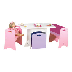 "KidKraft - Kidkraft Kids Room Decorative Furniture Table With Pastel Benches Set - With bright colors and space-saving convenience, our new Table with Pastel Benches is the perfect place for arts, crafts, and board games. Perfect for small apartments or space-challenged homes, the benches and storage bin fit neatly beneath the table when not in use. Dimension: Table: 32""x 18""x 20.5""H Bench:16""x 11""x 18.5""H Seat: 11""H Trundle: 16""x 13.25""x 15""H"