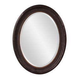 Howard Elliott - Nero Oval Mirror - 26W x 34H in. Multicolor - 56104 - Shop for Mirrors from Hayneedle.com! An ideal complement to your reclaimed or antique console table vanity or bed-frame the Nero Oval Mirror - 26W x 34H in. features a solid hardwood frame for support. The frame features a notcheD ribbed texture and an interior border made from beaded accents. A handsome rustic black finish tops the frame paired with gold highlights. The oval center reflective surface features a thick beveled edge. At 22 lbs. the mirror is both lightweight and sturdy. Hang the piece either vertically or horizontally.About the Howard Elliott CollectionThe Howard Elliott Collection is one of the premiere manufacturers of decorative mirrors and accessories in the home furnishings industry. Howard Elliott offers innovative designs in a wide variety of styles and the company prides itself on its high standards and quality. No matter your style the Howard Elliott Collection offers pieces that are sure to add sophistication and luxury to your decor.In the company's meteoric rise it now ships to nearly 3 500 furniture home furnishings and lighting retailers as well as many of the top contract companies servicing the hotel and building industries worldwide.