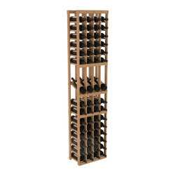 4 Column Display Row Cellar Kit in Pine with Oak Stain + Satin Finish - Make your best vintage the focal point of your wine cellar. Four of your best bottles are presented at 30° angles on a high-reveal display. Our wine cellar kits are constructed to industry-leading standards. You'll be satisfied with the quality. We guarantee it.