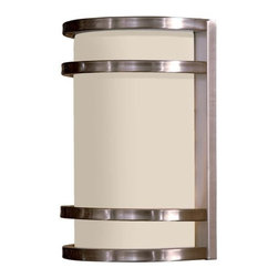 "The Great Outdoors - The Great Outdoors 9801-144-PL Brushed Stainless Steel Bay View Energy - Bay View One Light Wall Sconce Energy Star Rated Fixture Etched Opal Glass Extends: 4"", ADA Compliant 1 13w Spiral PL with 120V LVS Electronic Ballast (Bulb Included)"