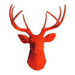White Faux Taxidermy - The Anastasia - Orange Faux Resin Deer Head - Measurements: