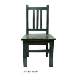 Chinese Rustic Blue Color Kid Small Wood Chair - This small kid size wood chair is made of natural wood with rustic blue lacquer painted surface. It is good to be a mini stool, a stand or display. ( few pieces in stock, but some variation in finish for hand made item )