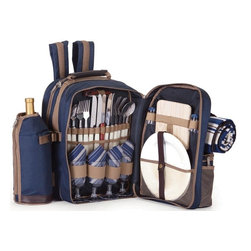 "Picnic Plus - Tremont 4 Person Picnic Backpack, Navy - Picnic Plus Tremont 4 Person Picnic Backpack With Waterproof Blanket, Navy. Color/Design: Navy; Includes a waterproof backed fleece blanket; Large thermal foil insulated food compartment; 2 insulated, zippered, detachable 2 liter wine/beverage carriers; Large front storage pocket; Heavy duty 600D polyester exterior shell; Two soft padded adjustable shoulder straps with handsome leatherette trim; With a complete set of 4: plates, acrylic goblets, cotton napkins, stainless steel flatware, wooden handle bottle opener waiters tool, salt/pepper shakers, wooden cutting board and cheese knife. Dimensions: 14""W x 12""D x 17""H"