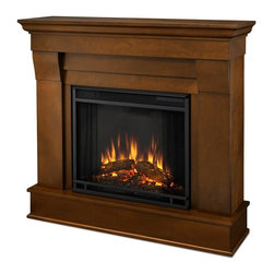 Real Flame - Chateau Electric Fireplace in Espresso - 1400 Watt heater, rated over 4700 BTUs per hour. Programmable thermostat with display in Fahrenheit or Celsius. Ultra Bright LED technology with 5 brightness settings. Digital readout display with up to 9 hours timed shut off. Dynamic ember effect. Fireplace includes wooden mantel, firebox, screen, and remote control.. Solid wood and veneered MDF construction. 40.9 in. W x 11.8 in. D x 37.6 in. H (78.6 lbs.)The Chateau Fireplace features the clean lines and classic styling familiar to stone mantels, realized in wood. In three great finishes, this design is sure to compliment a variety of decor, from the classic to contemporary. The Vivid Flame Electric Firebox plugs into any standard outlet for convenient set up. Thermostat, timer function, brightness settings and ultra bright Vivid Flame LED technology.
