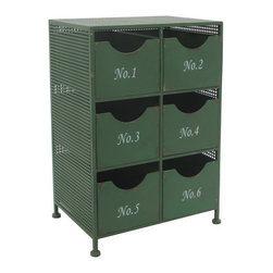 Half a Dozen Cabinet - Tap into your inner country chic style with this rustic, green, metal cabinet. It has drawers for almost every day of the week.