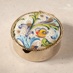 "Exposures - Firenze Pill Box - Florentine - Overview Pretty as an accent atop a vanity or bureau, our exclusive pill box design features handmade Florentine paper in a lovely floral motif. Perfect gift idea for pill box collectors. Made in Italy.  Features Gold tone metal Handmade paper  Made in Italy    Specifications  Measures 1 5/8"" diameter x 3/4"""