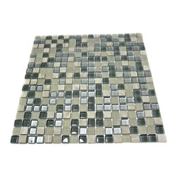 "GlassTileStore - Silver Fog Blend Squares 1/2"" X 1/2"" Marble & Glass Tile - Silver Fog Blend Squares Glass and Stone Tile             The smooth glass and stone combination creates a beautifully multi-dimensional effect. Great to install in kitchen back splashes, bathrooms and any decorated spot in your home. The mesh backing not simplifies installation, it also allows the tiles to be separated which adds to their design flexibility.         Chip Size: 1/2"" x 1/2""   Color: Light and Dark Gray, and Silver   Material: Glass and Slate   Finish: Polished and Frosted   Sold by the Sheet - each sheet measures 12"" x 12"" (1 sq. ft.)   Thickness: 8mm   Please note each lot will vary from the next.            - Glass Tile -"